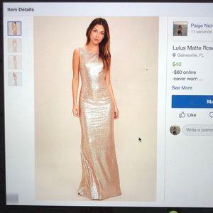 Lulus matte rose gold sequin gown